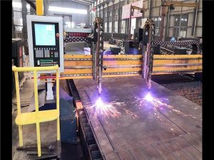 Duobla Veturo Gantry CNC-Plasma Tranĉa Maŝino H Beba Produktado Linio Hypertherm CNC-Sistemo